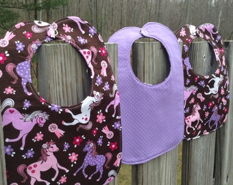 Pretty Ponies Reversible Baby Bib, Triple Layer, Snap Closure, ready to ship