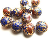 last stock / 6Pc / Diameter 18mm - Gold Plated Etched Brass Cloisonne Beads.