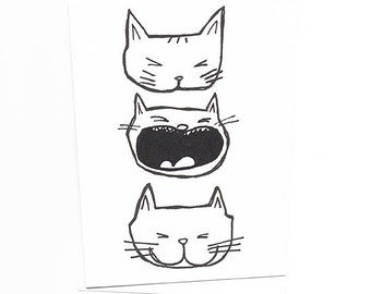 Black and White Cat Faces Note Card of Original Illustration