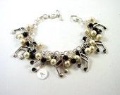 January SALE - Music Charm Bracelet - black and white charm bracelet - music lovers charm bracelet