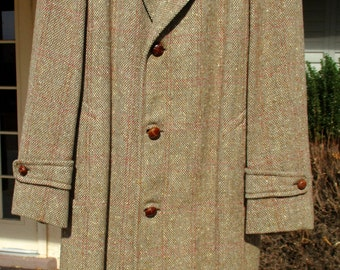 Vintage Worsted Tex Men's Tweed Trench Coat Overcoat Butte Montana Made Exclusively for Jim Spier Knit-tex Mad Men Style