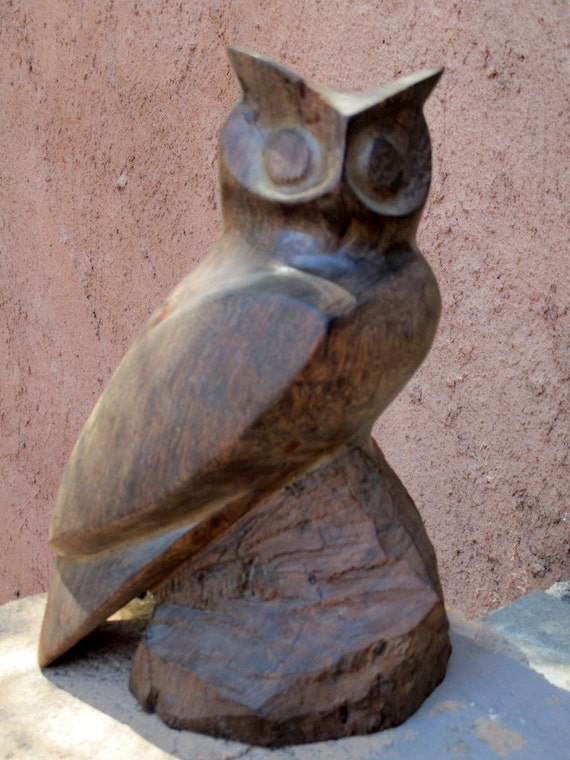 Vintage hand carved owl statue wood carving folk art wooden