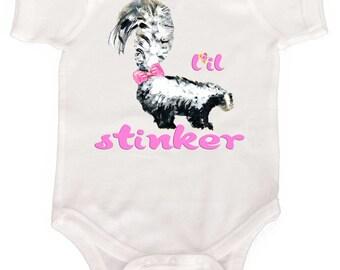 Cute Baby Girl Bodysuit Little Stinker Girl Romper Newborn Girl Clothes to Girly Tees Skunk Baby Girl Romper
