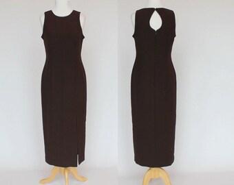 90's Sleeveless Midi Dress / Brown Sheath / Keyhole Back / Liz Claiborne / Medium