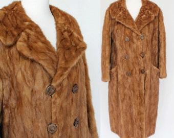 60's Mink Coat / Double Breasted / Long Fur Coat / Autumn Haze / Small to Medium