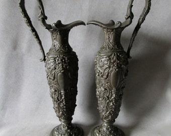PR Antique c1890s Victorian Ewers with Cherubs