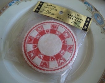 Vintage Pakay Party Papers Absorbent Coasters By Gibson
