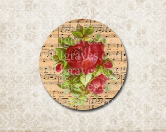 Red Rose Music Stickers Envelope Seals Wedding Party Favor Treat Bag Sticker SP080