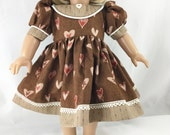 Fits American Girl Doll Valentine Dress Fits Other 18 Inch Dolls Short Sleeved Chocolate Brown Peach RedHearts and Stripes Matching Hair Bow