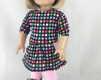 18 Inch Clothing Handmade Knit Tee Shirt Dress Cotton Knit Leggings Multi Colored Dots Print on Black