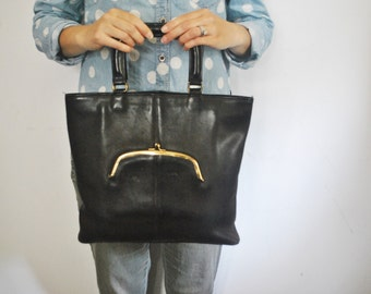 RARE Coach Black Handbag Purse Kisslock / Bonnie Cashin skinny Tote bag