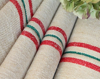 C 578 antique hemp linen RED and GREEN upholstery christmas tablerunner 5.465 yards handloomed benchcushion Beachhouse look