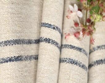 P 11 antique hemp linen roll faded 12.023yards INDIGO BLUE grainsack fabric wedding decor lin