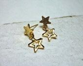 Double Star Drop Stud Earrings