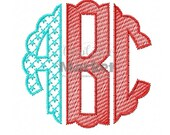 Machine Embroidery Design Embroidery Scallop Circle Monogram Stars 'n' Stripes Fill Font INSTANT DOWNLOAD