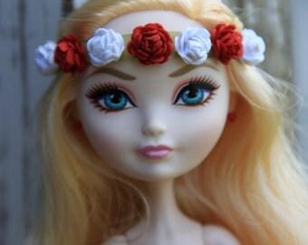 Red & White Roses Flower Tie On Tiara Headpiece Headband Doll Jewelry fits Petite Slimline High Dolls Bohemian Hippie Boho Fairy