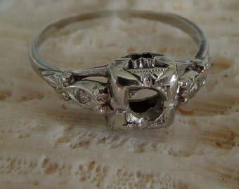 Vintage 14K White Gold Engagement Ring Setting With Two Diamond Chips, Size 6 /2, Engagement Ring, Engagement Setting