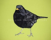 Blackbird - Embroidered Textile Art Canvas