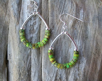 Green Turquoise Earrings, Silver Hoop Earrings, Turquoise Earrings, Boho Earrings