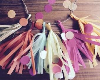 MINI TASSEL GARLAND / custom colors / photo backdrop / nursery decoration / wedding decorations / birthday decor / party decorations