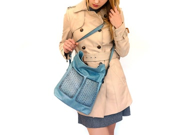 "large zipper shoulder bag, lined blue leather bag with pockets - genuine cow leather tote - italian quality leather ""STELA"""
