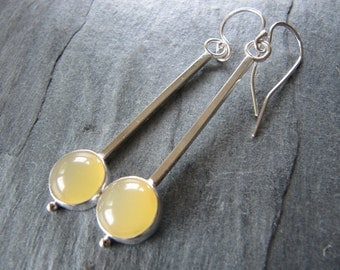 Long Modern Yellow Opal Earrings in Sterling Silver