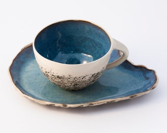 Blue Teacup with Saucer, Stoneware cup, wheel thrown teacup, handmade mug, Cappuccino Cup, Coffee cup, Pottery ceramic mug, Birthday gift