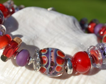 Reserve for Patrice-ART and SOUL-Handmade Lampwork and Sterling Silver Bracelet