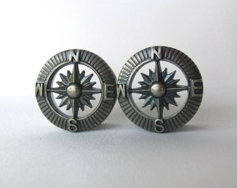 "Pair of Silver Steampunk Compass Tunnels - Steam Punk Gauges - Travel Plugs - Handmade - 3/4"", 7/8"", 1"" (19mm, 22mm, 25mm)"
