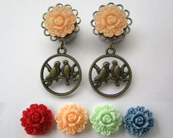 """Pair of Bouquet Plugs with Lovebird Charms - Feminine Dangle Gauges - 4g, 2g, 0g, 00g, 7/16"""", 1/2"""" (5mm, 6mm, 8mm, 10mm, 11mm, 12mm)"""