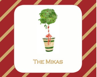 Personalized Coasters with Holiday Topiary Tree ( 1 set of 20)