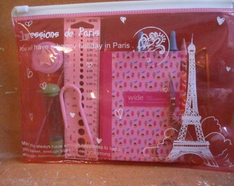 Fully Loaded Knitting Notions Pouch -- Impressions De Paris Clear Plastic Pouch -- pink