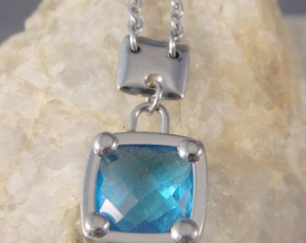 Modern Stainless Steel Blue Square Necklace