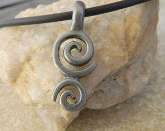 Double Spiral Black Cord Necklace