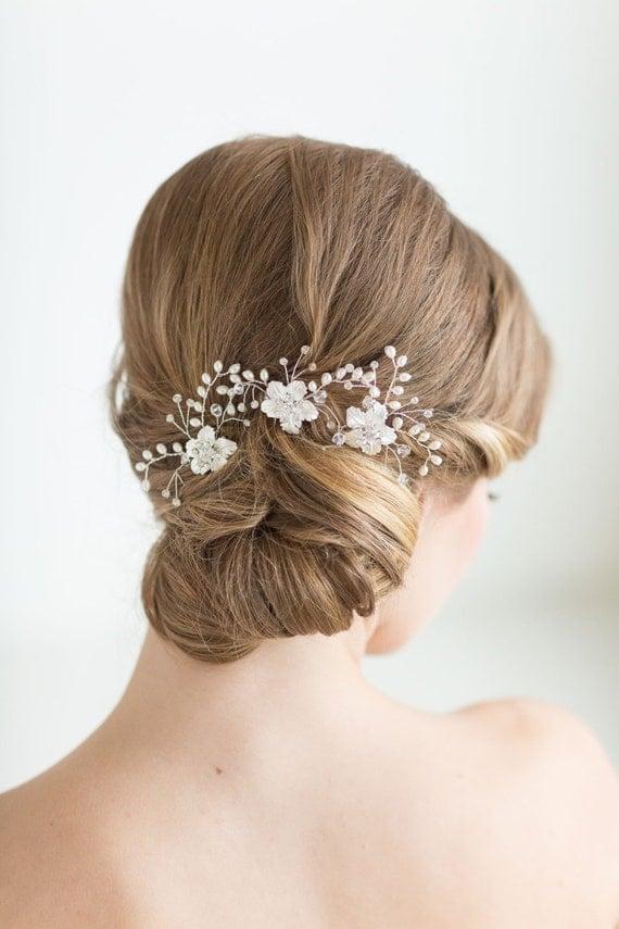 Bridal Hair With Pins : Wedding hair bridal flower