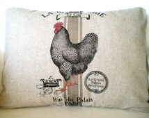 French Rooster Pillow Cover, Paris Pillow, Throw Pillow Cushions Paris French Grain Sack Stripe Rooster, 12 x 16 or 12 x 18 Shabby Chic