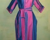 M L  70s Tunic Dress Catherine Ogust For PentHouse Gallery Mod Color Block Geometric Print Nehru Collar Purple Fuchsia Smock Caftan