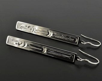 Long Rectangular Drop Dangle Earrings with Three Northwest Coast Native Design Options Sterling Hand-Engraved