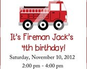 Little Red Fire Truck Birthday Party Invitation C-353-A Digital Download
