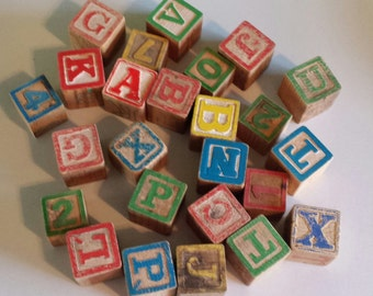 Salvage ~ Wooden Blocks ~  Assorted Alphabet & Numbers ~ 'As Is' Condition ~ 25 Pieces