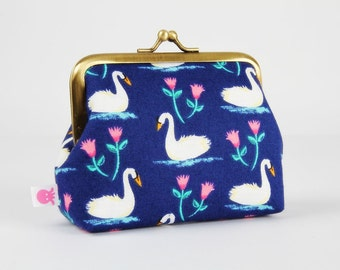 Deep dad - Swans in navy blue - metal frame purse