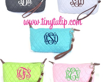 Monogrammed Quilted Wristlet Clutch
