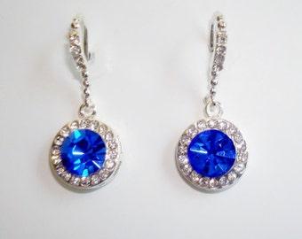 Gorgeous Silvertone Blue/Clear Crystal Dangle Earrings