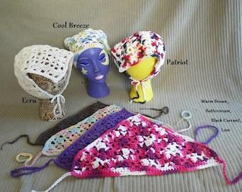 Kerchief, Tie On Bonnet, USA Grown Cotton, Made to Order, Custom