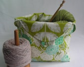 Special Order for Liz - Tulip Bag and zippered pouch - crochet knitting project bag - sage green sheep fabric - free knitting pattern