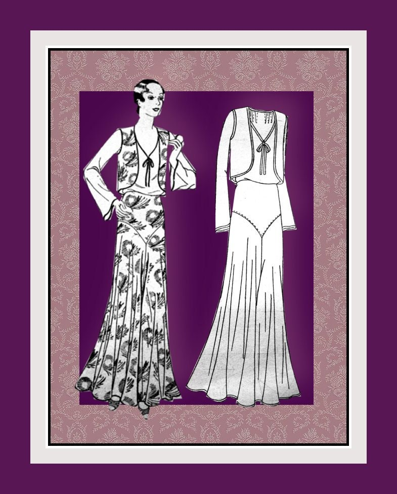 Vintage 1930s-ELEGANT DECO ENSEMBLE-Sewing