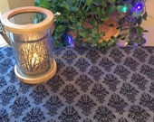 Halloween Mod Grey Damask style  - Pagan Wiccan Altar Table Cloth