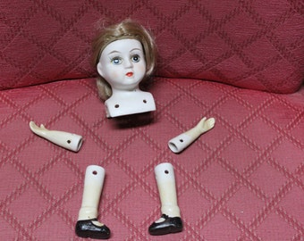 Vintage Hand-painted Bisque Porcelain Doll head, arms and legs