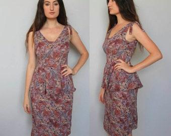 ala carte -- vintage 70s floral print peplum dress S
