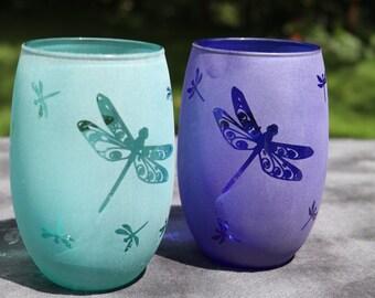 Dragonfly stemless wine glasses Aqua OR Blue